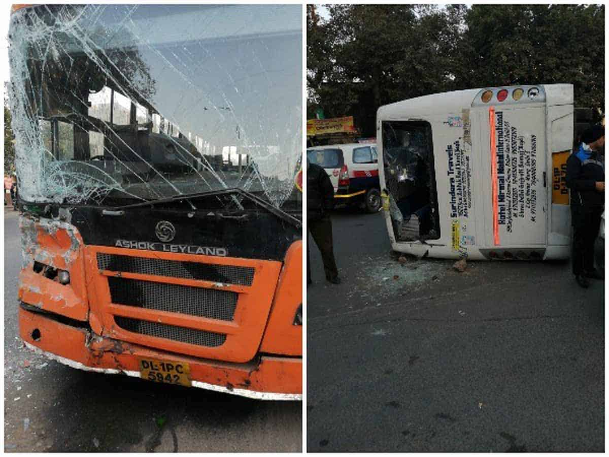 Six students injured in bus accident in Delhi