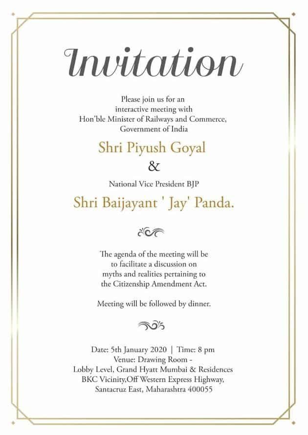 Image result for CAN: BJP invited Bollywood for dinner to amplify support