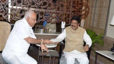 Photo of Yediyurappa meets Dharmendra Pradhan