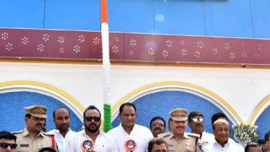 Photo of Azharuddin unfurls National flag at Shamshabad