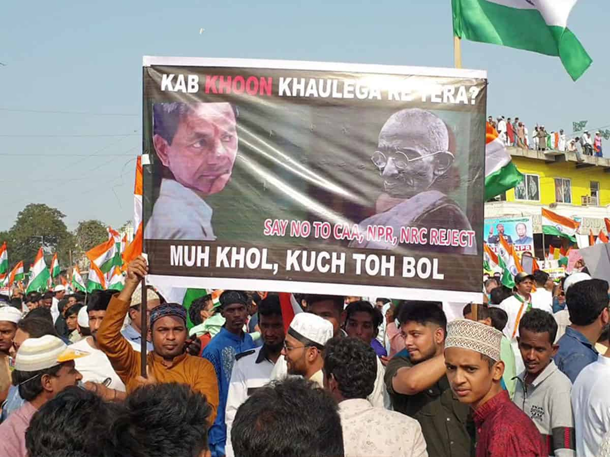 Anti-KCR banners surface at Hyderabad CAA protest meeting