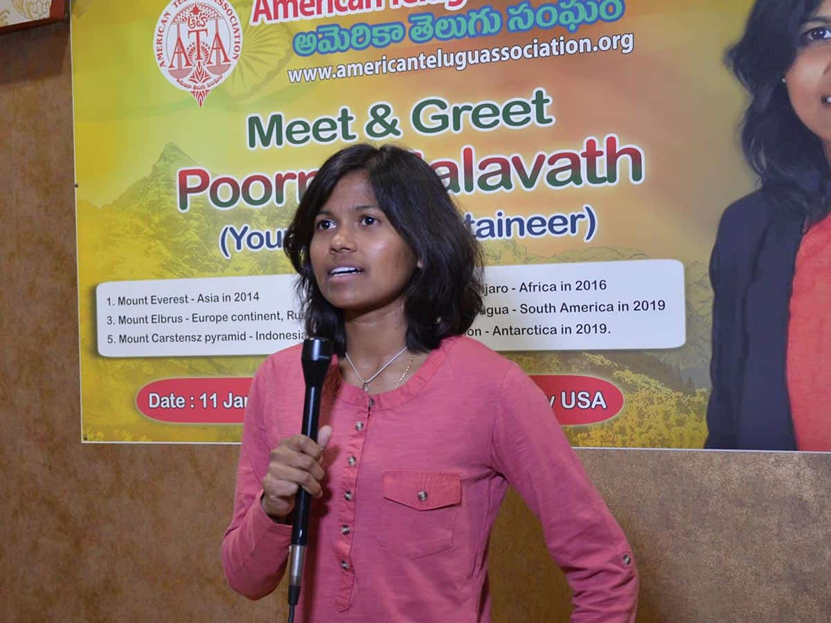 Renowned mountaineer from Telangana addresses US Telugu diaspora