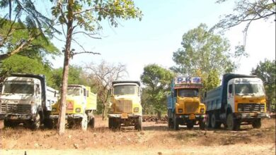 Photo of 10 vehicles seized, for illegal mining in Shivamogga