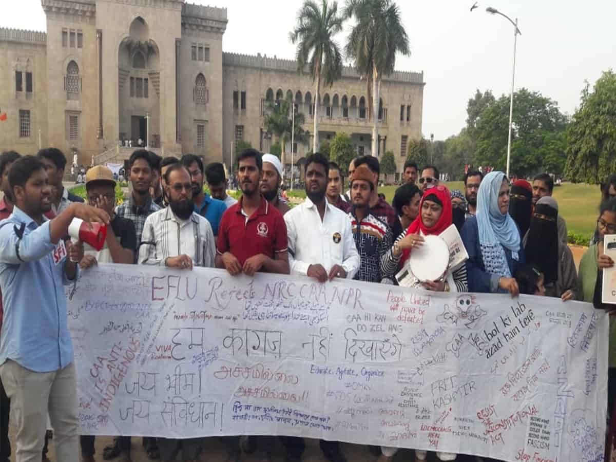 Osmania University students protest against Jamia firing