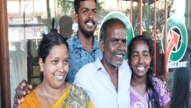P Rajan with his family after winning Rs 12 lakh State lottery