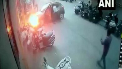 Photo of Car catches fire after colliding with pole in Surat
