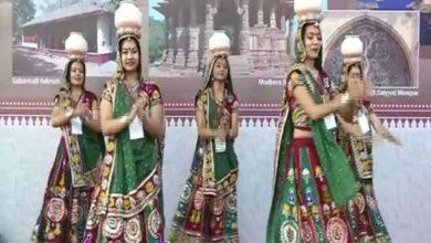 Photo of Women perform garba at Ahmedabad's Airport Circle