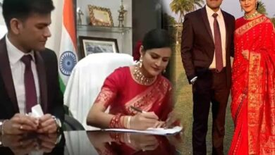 Photo of Busy with polls, IAS groom, IPS bride tie knot at office