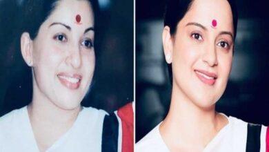 Photo of Rangoli shares Kangana's 'Thalavi' look as Jayalalithaa