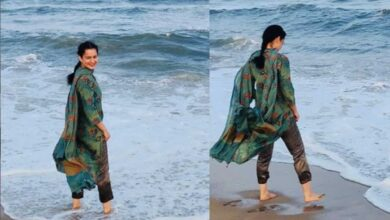 Photo of Kangana Ranaut steals moments of joy on sets of 'Thalaivi'
