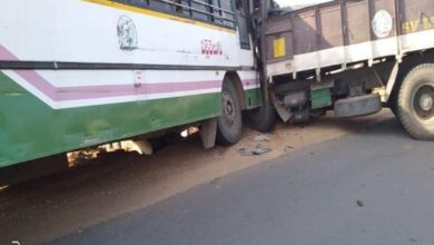 Photo of 10 injured in bus-truck collision in Telangana's Nalgonda