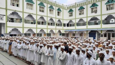 Photo of Madarsa students being trained to perform last rites