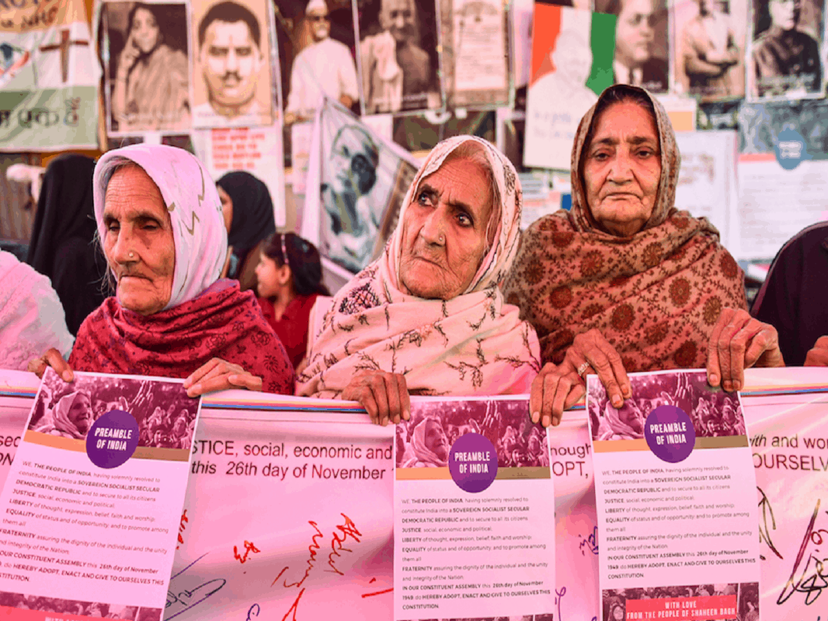 Elderly women during a demonstration against CAA, NRC and NPR at Shaheen Bagh in New Delhi on Saturday. Photo: PTI