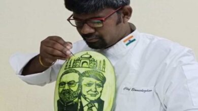 Photo of Tamil Nadu artist carves images of Modi and Trump on watermelon