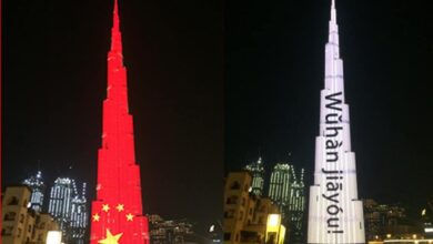 Photo of Burj Khalifa lights red in solidarity with China
