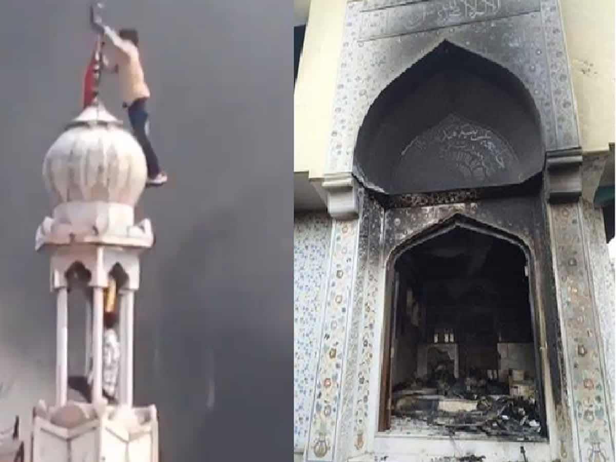 Image result for mosque burn delhi riots