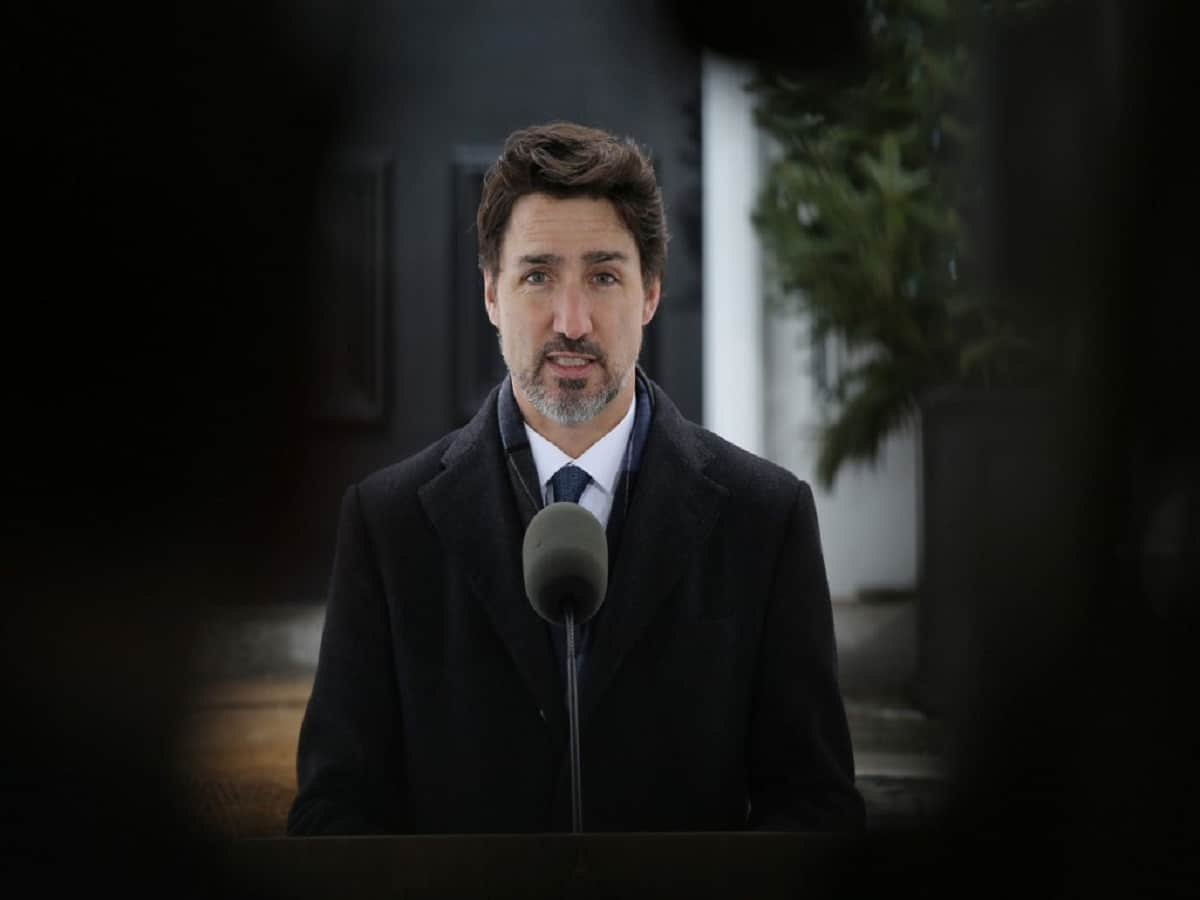 Canadian Prime Minister Justin Trudeau speaks during a news conference on COVID-19 situation in Canada from his residence March 17, 2020 in Ottawa, Canada. (Photo by Dave Chan / AFP)
