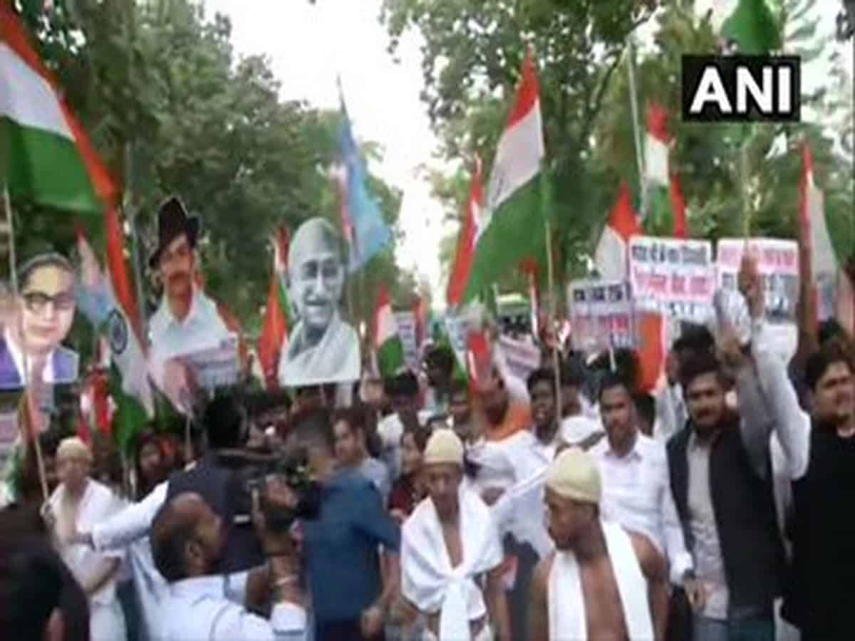 NSUI holds protests against Delhi violence