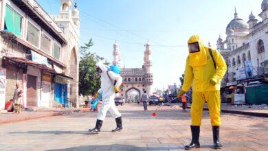 Photo of GHMC team sprays disinfectants at Charminar