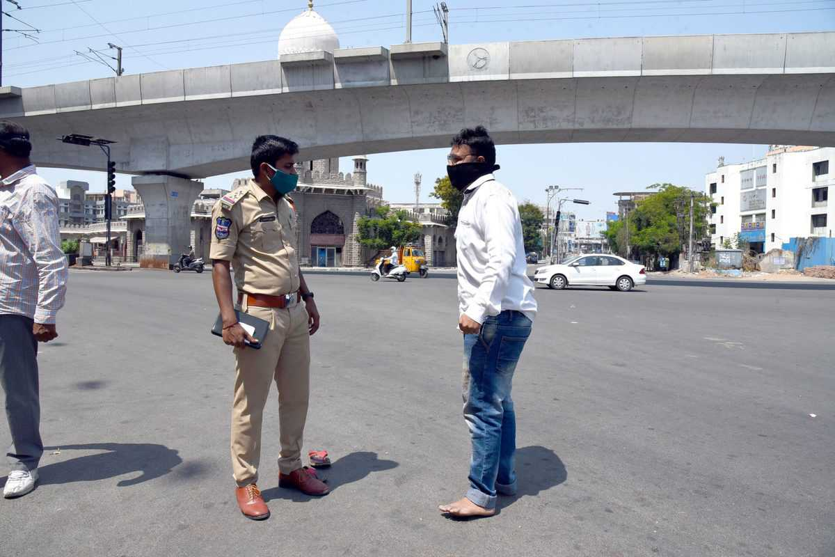 Police Punishment against Violators at Moazamjahi market