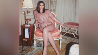 Photo of Kim Kardashian shares throwback picture in latex suit