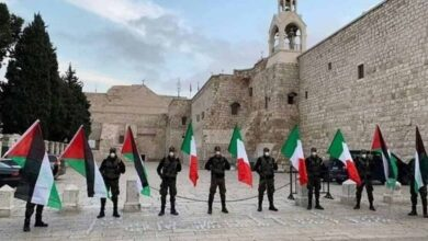 Palestinians Exhibit Solidarity with Italy in Bethlehem Rally