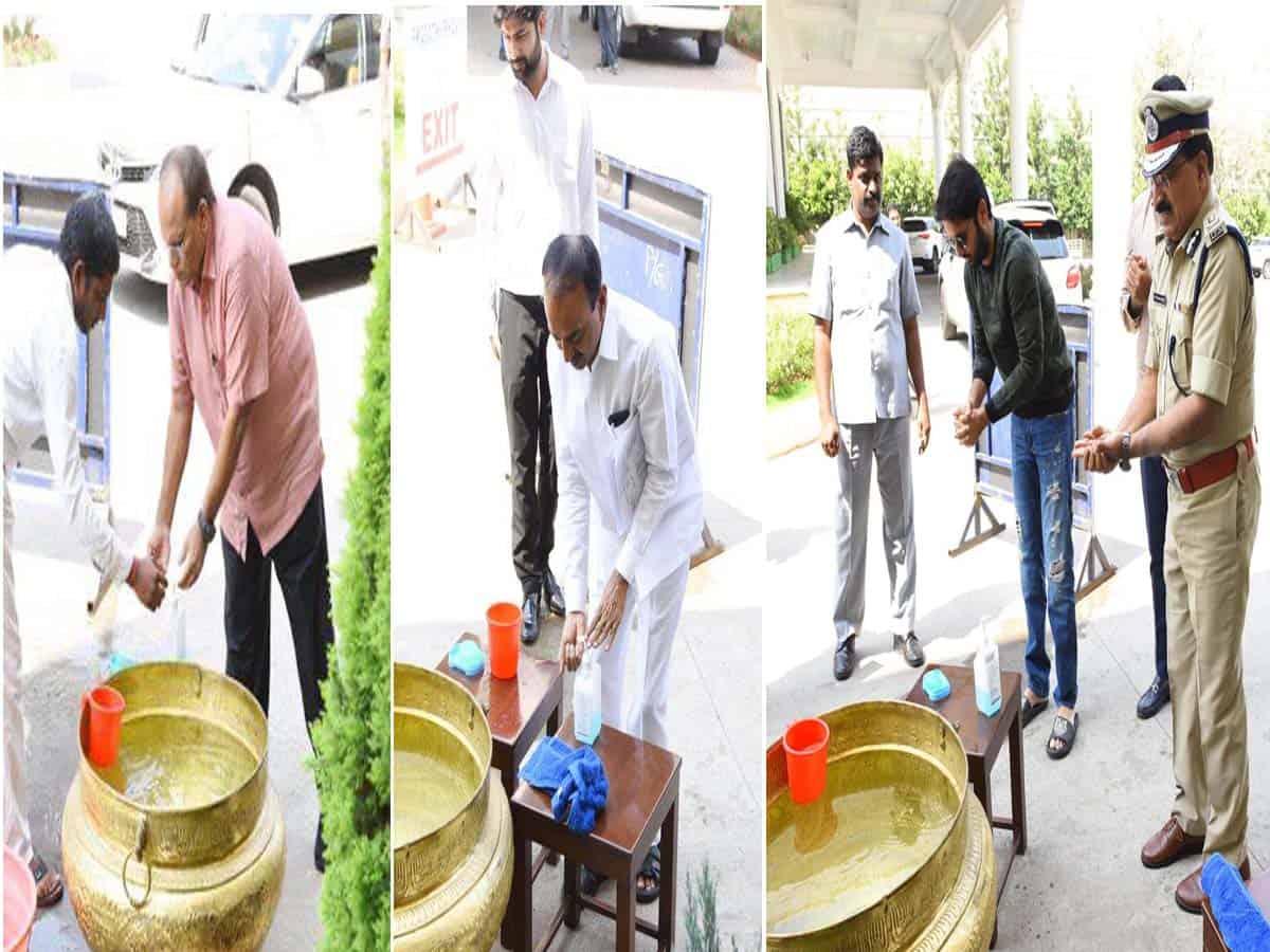 Hyderabad: Ministers, Bureaucrats sanitize hands at Pragathi Bhavan
