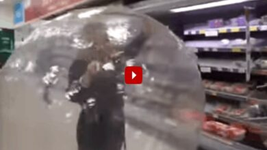 Photo of Coronavirus scare: Woman uses Zorb ball to do shopping