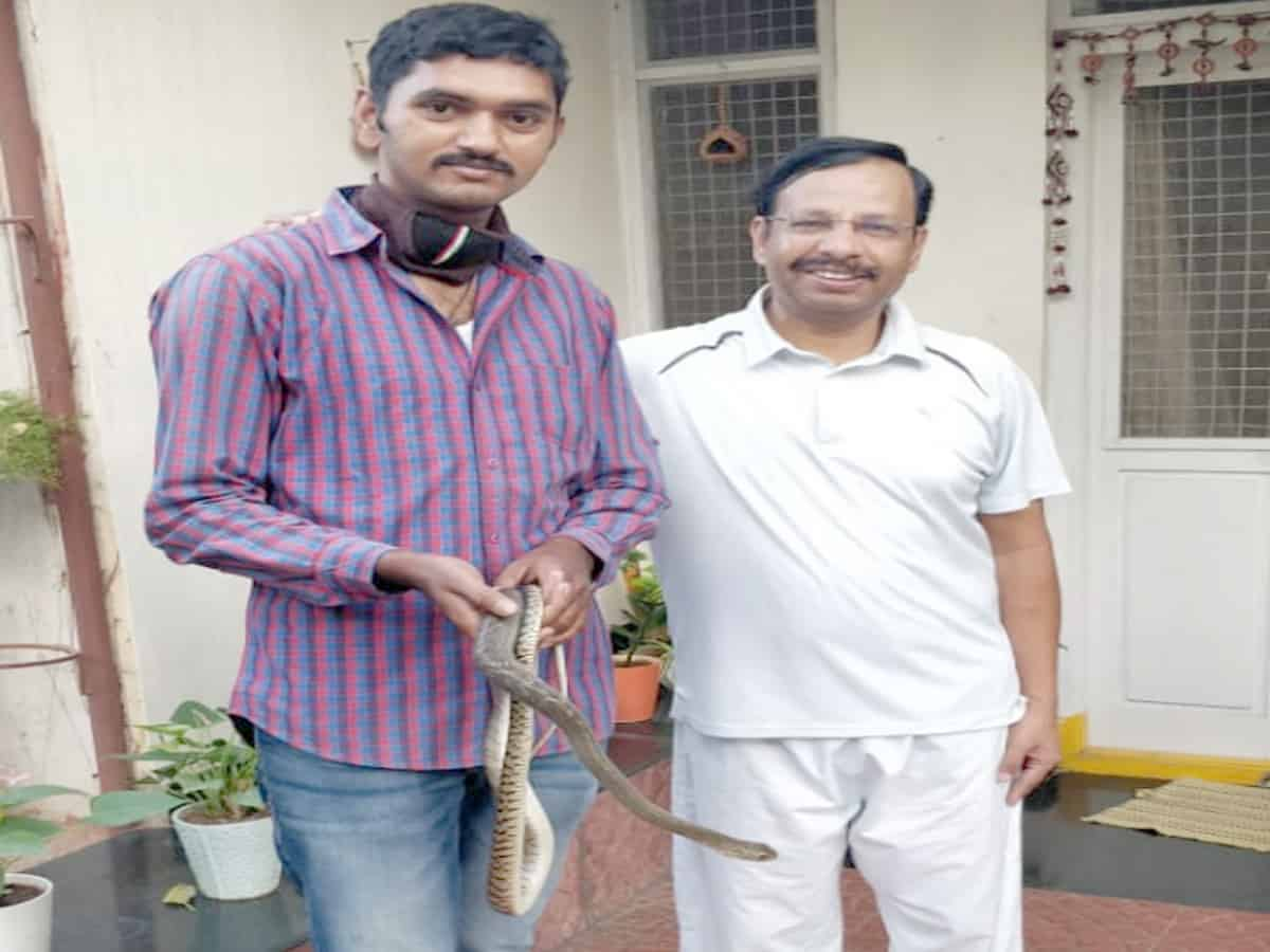 Snake rescued from Cyberabad Commissioner's residence
