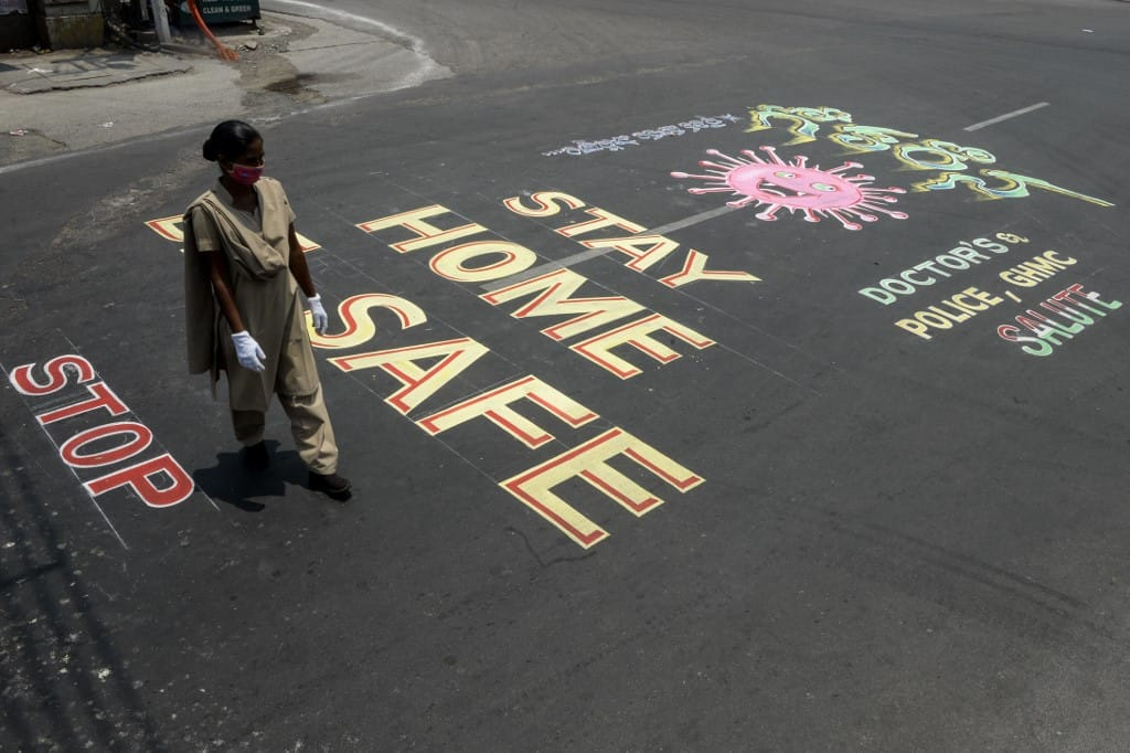 Coronavirus awareness graffiti in Secunderabad
