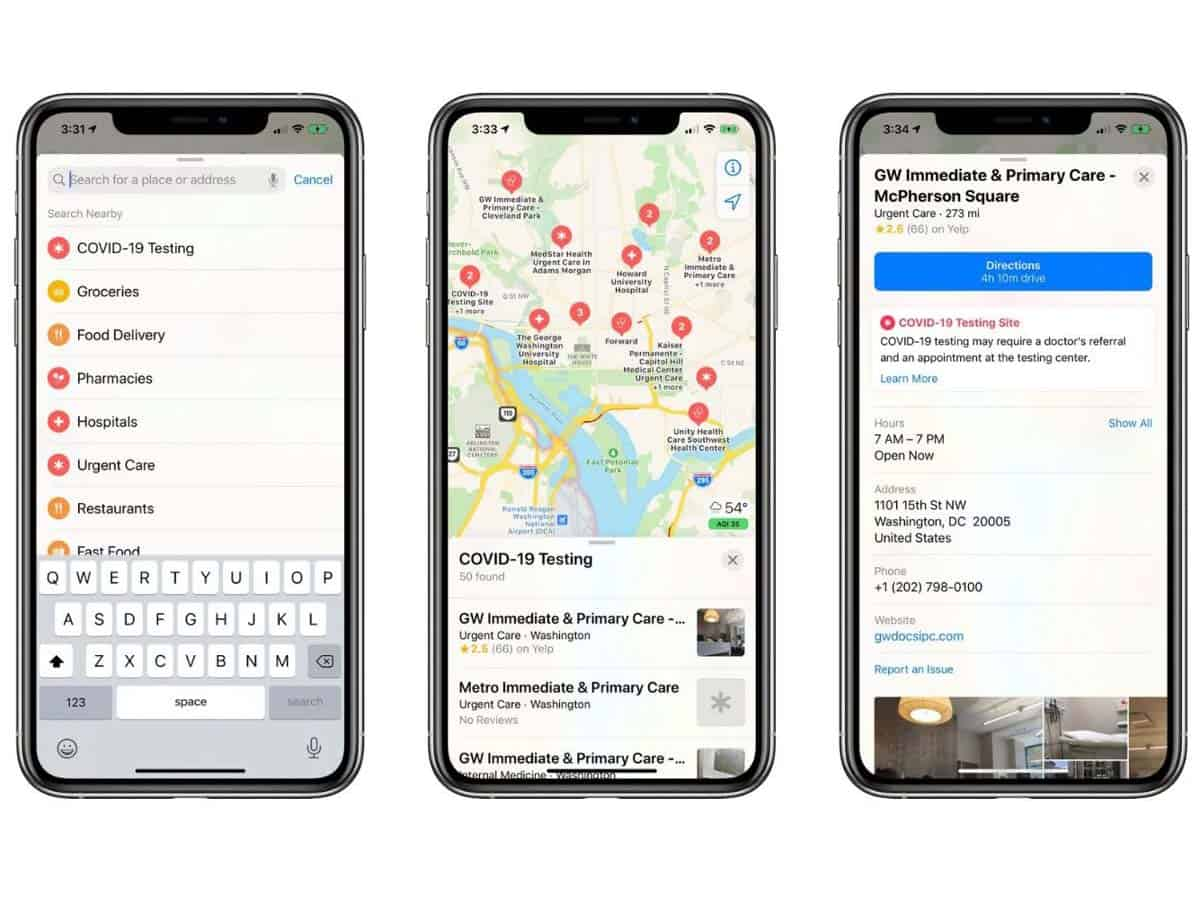 Apple adds COVID-19 testing sites to its Maps across US