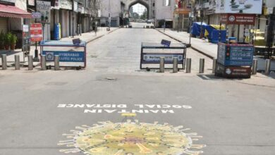 Photo of Coronavirus awareness graffiti at Charminar