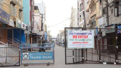 "Hyderabad's Mallepally Road turned into ""No Entry COVID-19 Containment Zone"", barricaded the area. Photo: Mohammed Hussain"