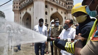 Photo of HM Mahmood Ali sprays disinfectant at Charminar