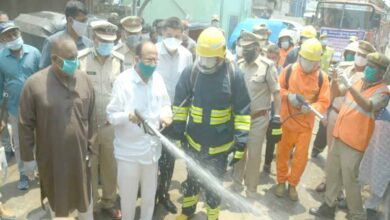 Photo of HM takes part in disinfectant work of the in Hyderabad