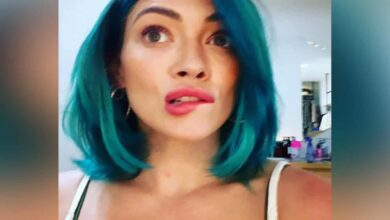 Photo of Duff ditches blonde hair for bold blue locks, shares new look