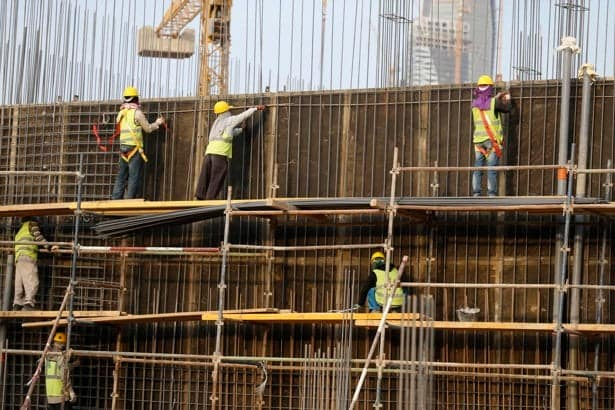 Indian labourers work at the construction site of a building in Riyadh. Credit: Reuters/Faisal Al Nasser