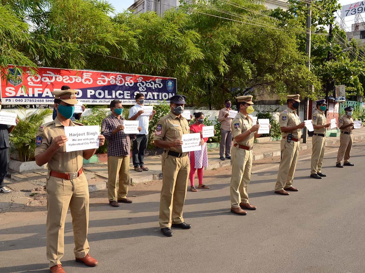 Hyderabad City Police shows solidarity to #MainBhiHarjeetSingh