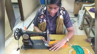 Photo of Telangana woman constable on mission to stitch masks
