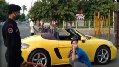 Photo of Porsche driver made to do sit-ups for 'violating' lockdown in MP