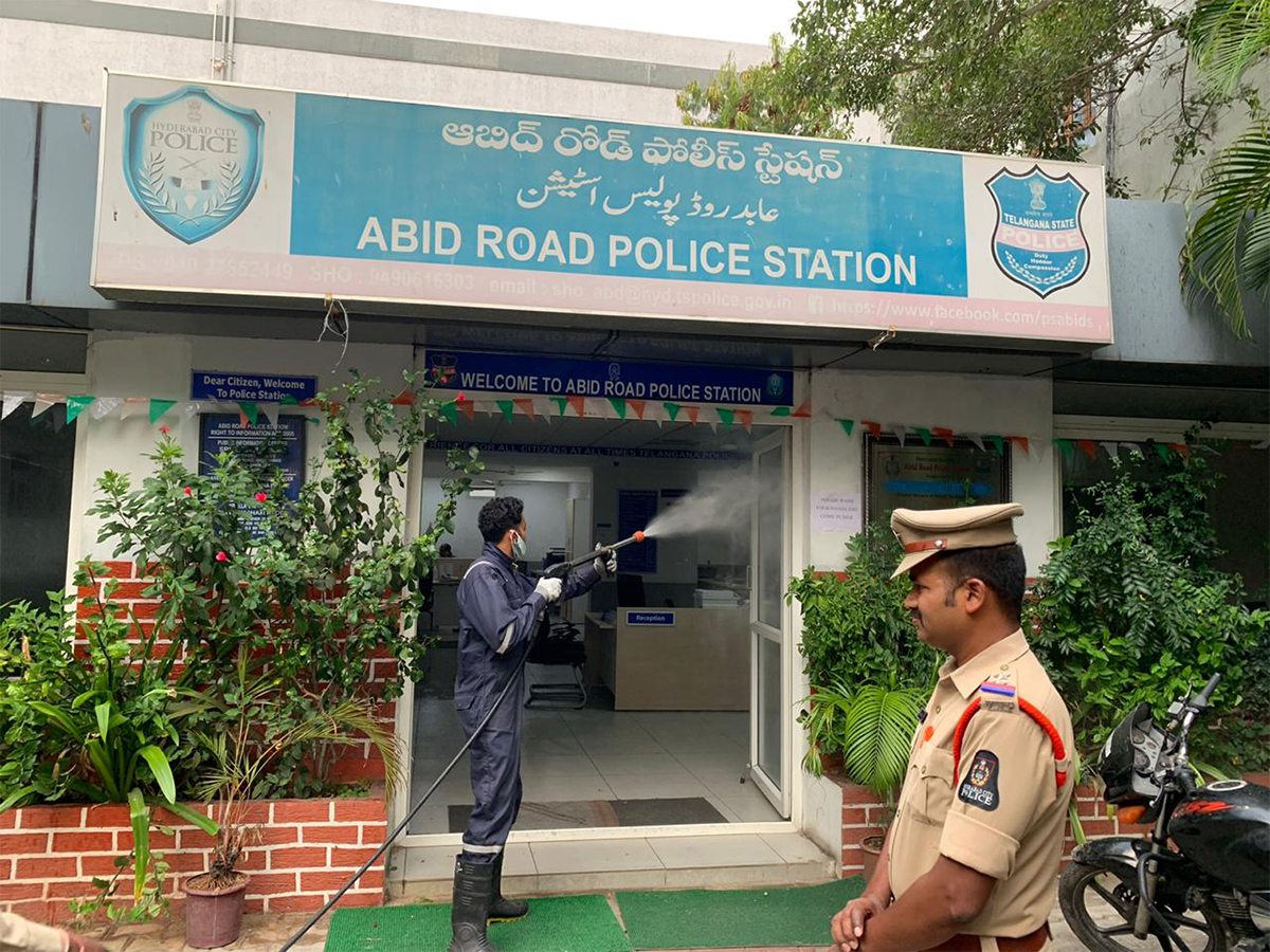 COVID-19: Police stations sprayed with disinfectant in Hyderabad