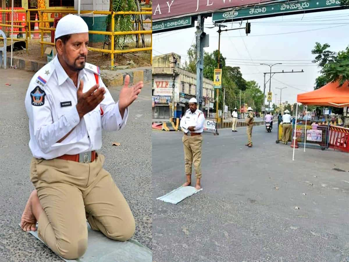 Ramadan: On-duty cop offers namaz on deserted street of Guntur