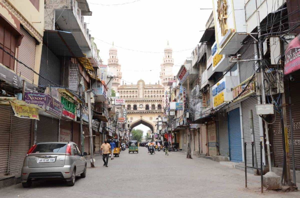 Hyderabad: Most of shops at Charminar remain closed