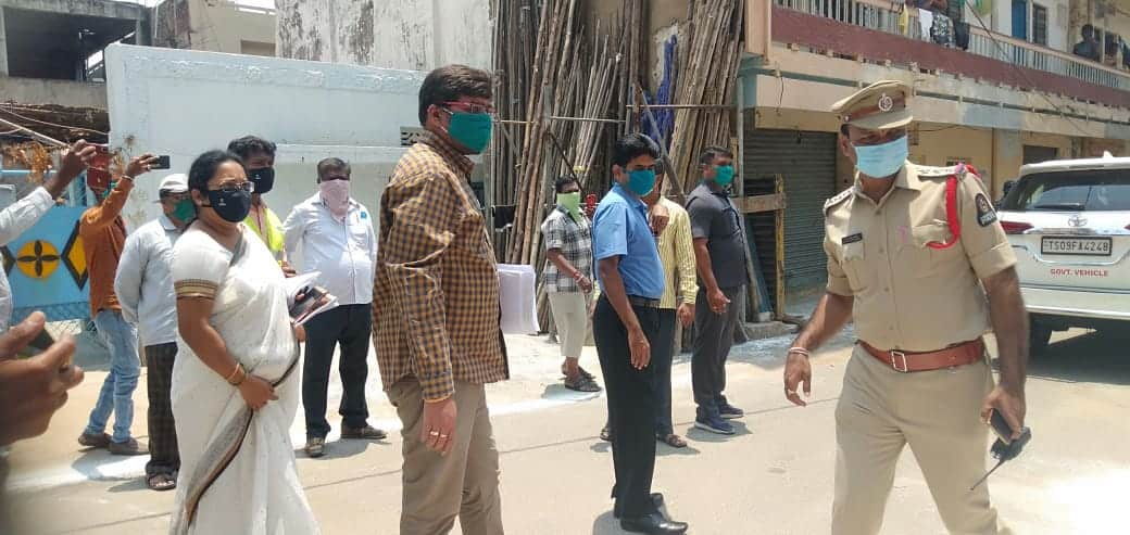 GHMC officials along with Nodal Officers inspecting at Madannapet in Hyderabad on Saturday.