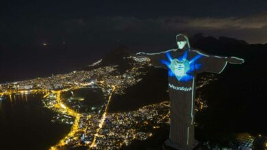 Christ the Redeemer statue wearing a protective mask in Brazil