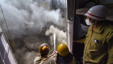 Photo of Photos: Fire at a shoe factory in Keshav Puram