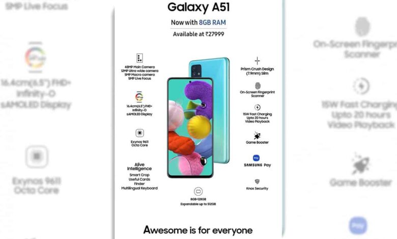 Samsung launches new Galaxy A51 variant at Rs 27,999