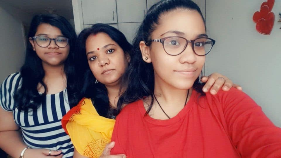 Indian housewife Sephali Panigrahi with her daughters Smiley (left) and Khushi at their Al Nahda, Sharjah apartment
