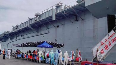 Photo of Naval ship arrives in Kochi with 698 repatriated Indians
