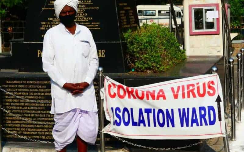File photo of a sign board showing the direction towards the Gandhi Hospital's Coronavirus isolation ward in Hyderabad. Photo: Mohammed Hussain